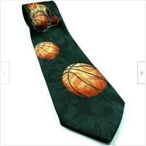 Basketball On Fire Flames Through Hoops Sports Tie